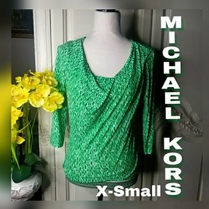 Green and White MICHAEL KORS Drape Neck Top